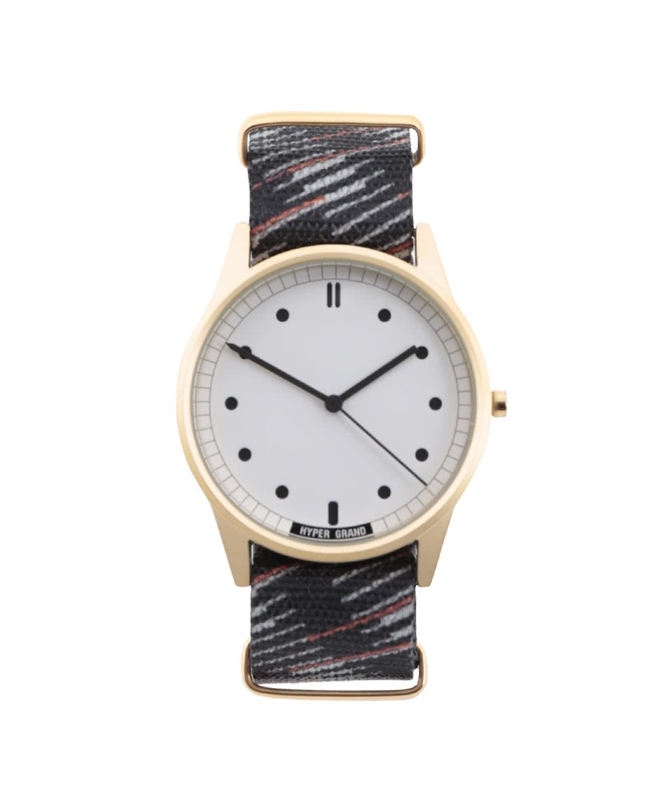 Černé pánské vzorované hodinky s ciferníkem ve zlaté barvě  HYPERGRAND