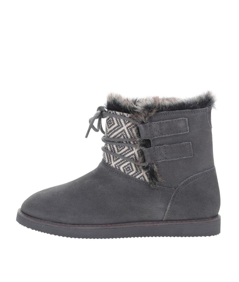 Šedé zimní boty se šněrováním Roxy Tara