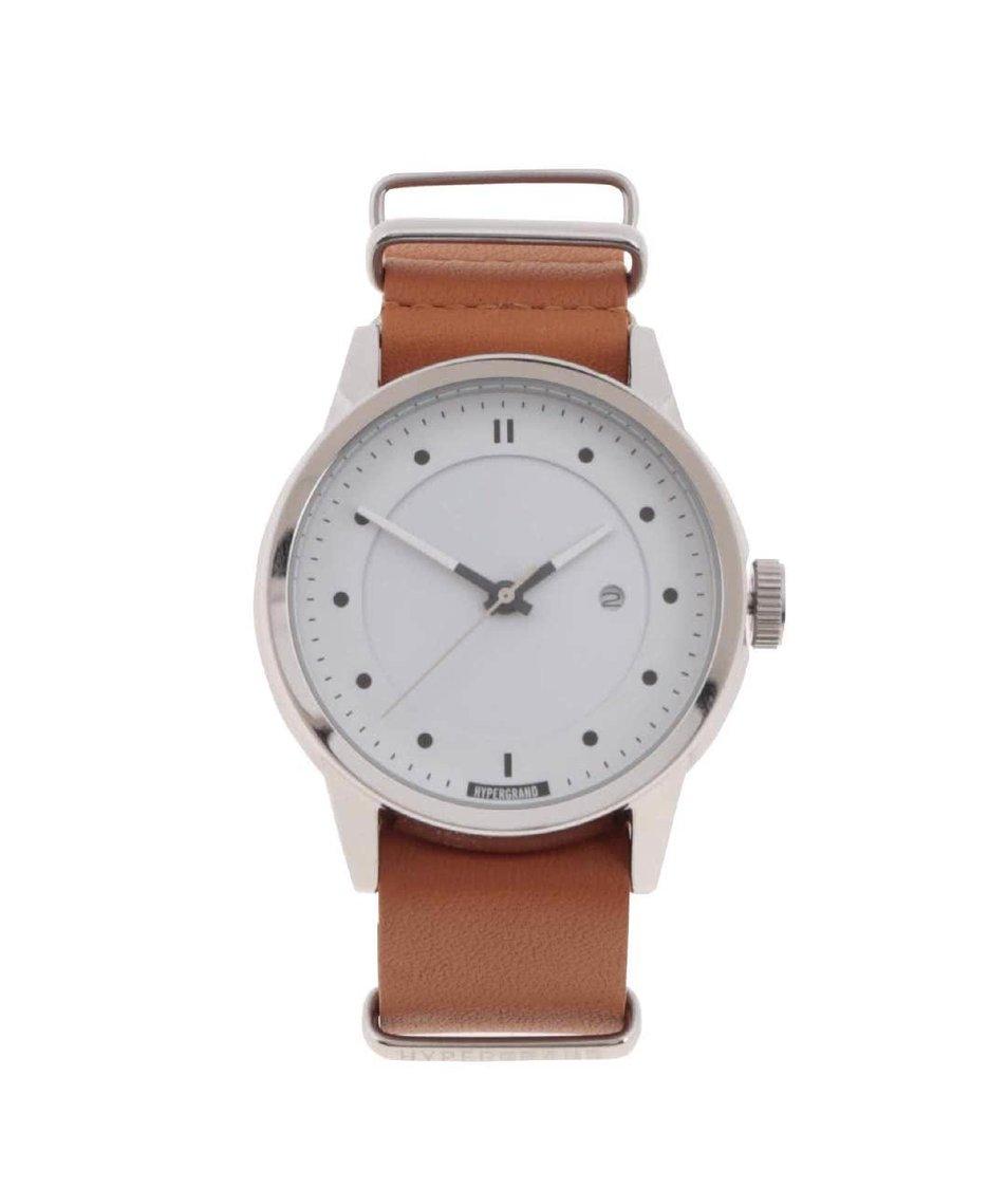Světle hnědé pánské kožené hodinky s nastavitelným řemínkem HYPERGRAND
