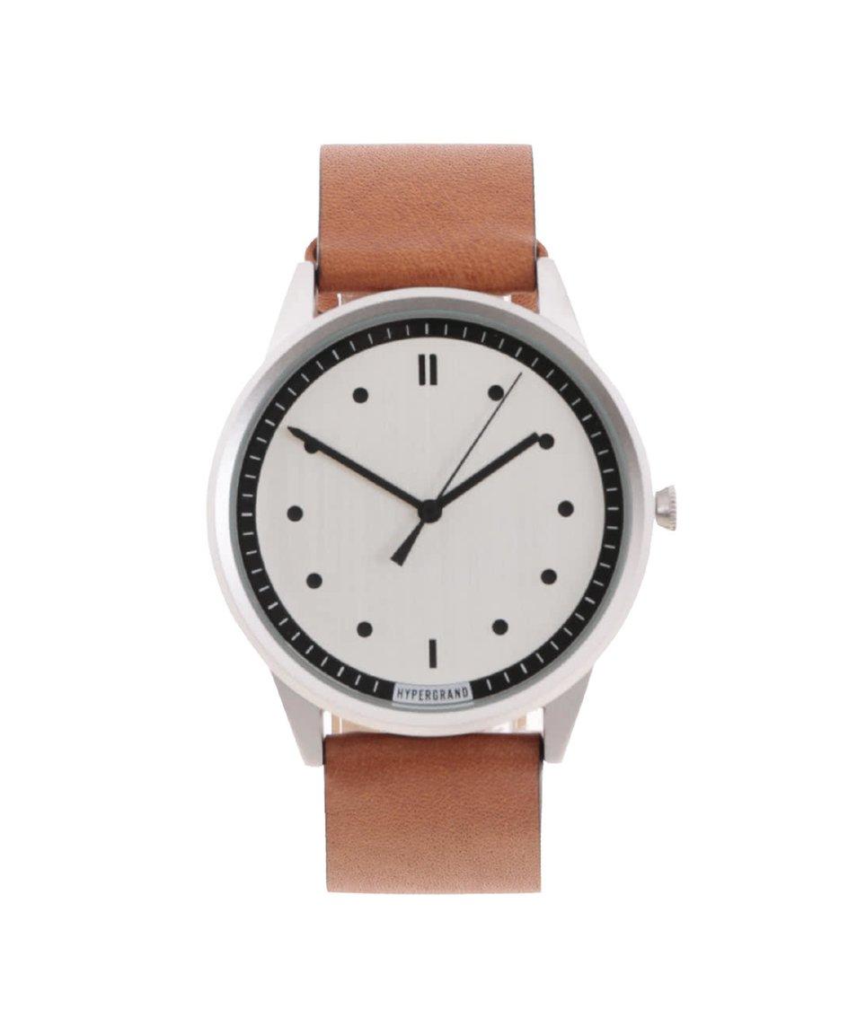 Světle hnědé pánské kožené hodinky s černými detaily HYPERGRAND