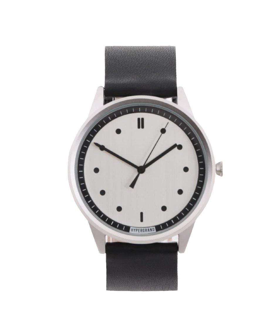 Černé pánské kožené hodinky s černými detaily HYPERGRAND