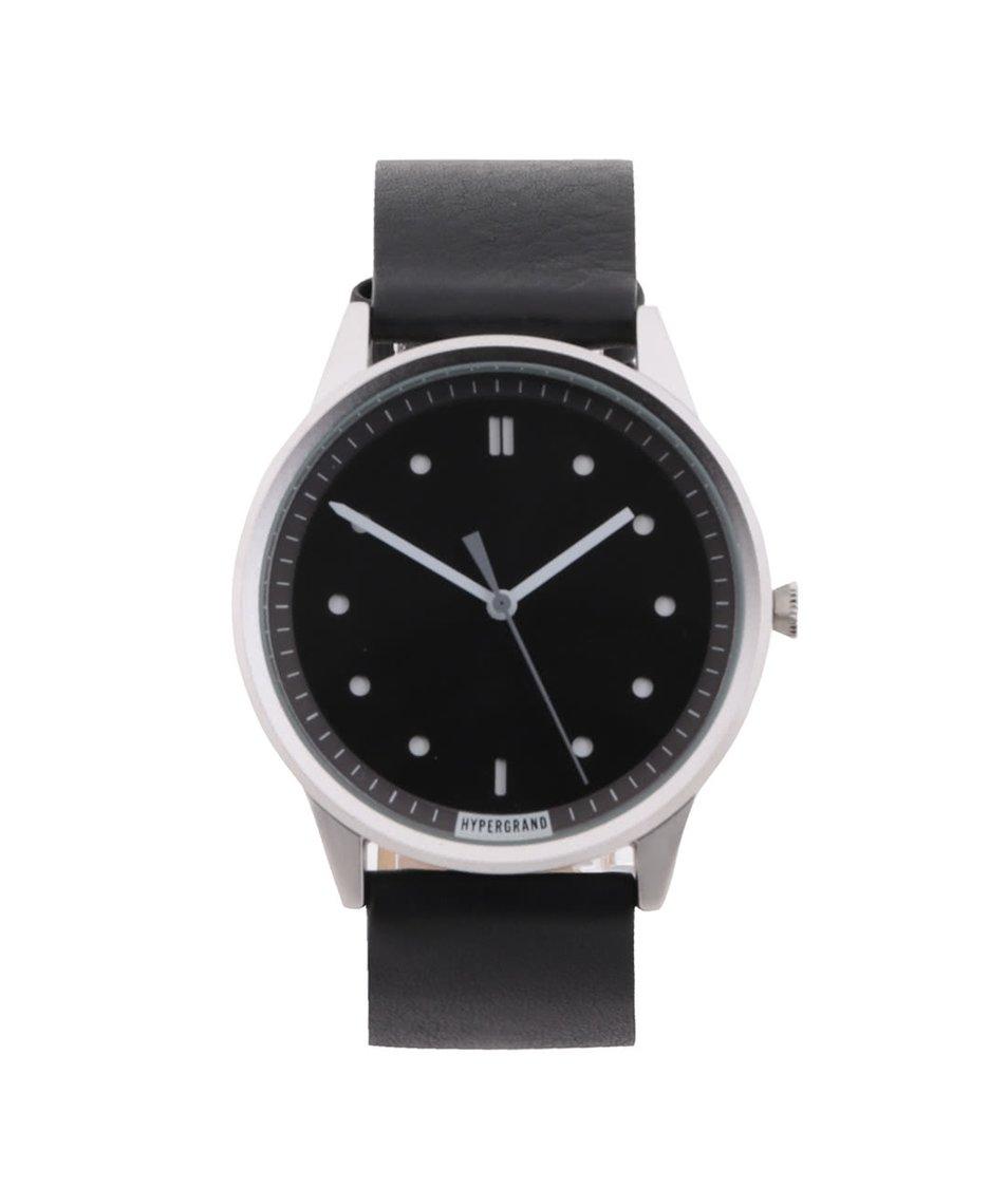 Černé pánské kožené hodinky s černým ciferníkem HYPERGRAND