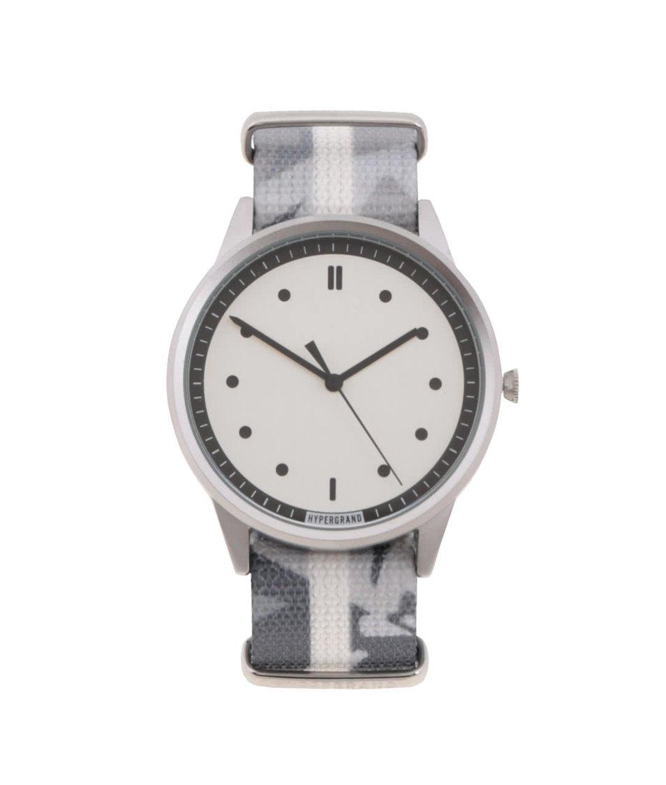 Šedo-bílé pánské vzorované hodinky s bílým ciferníkem HYPERGRAND