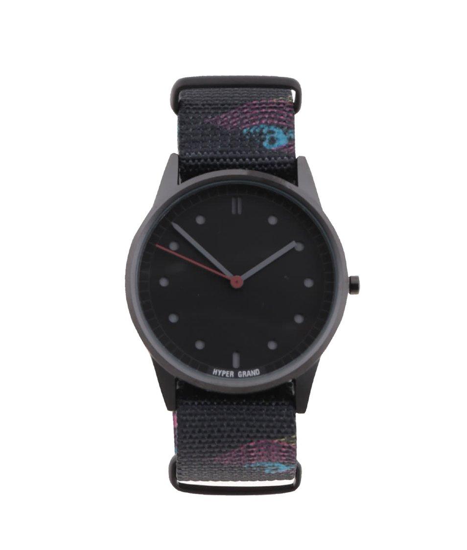 Černé pánské vzorované hodinky s černým ciferníkem HYPERGRAND