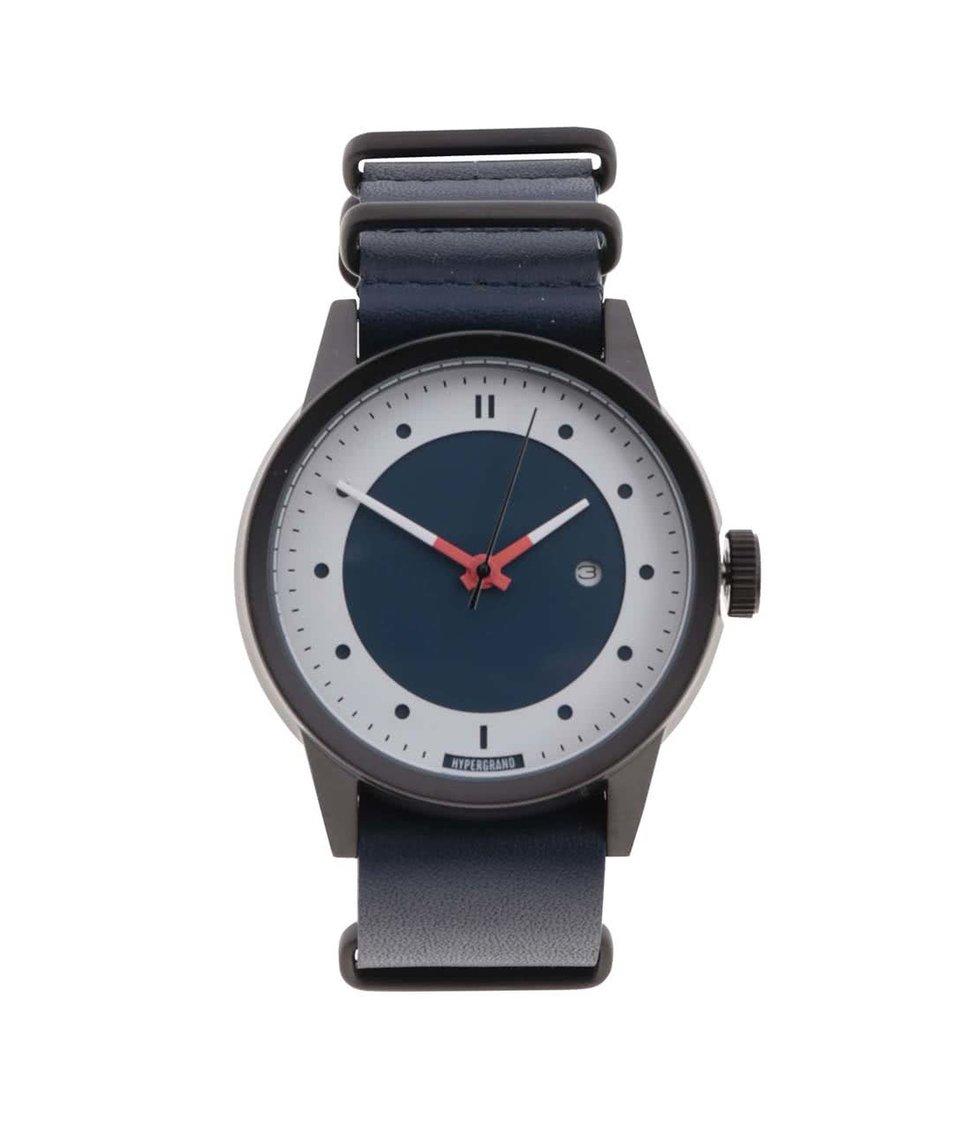 Modré pánské kožené hodinky s masivním ciferníkem HYPERGRAND