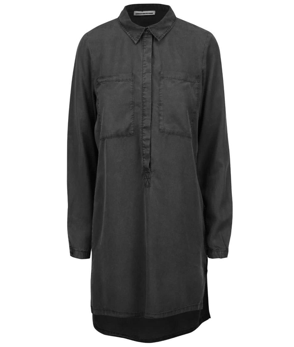 Černá delší košile s prodlouženou zadní délkou Noisy May Lilli