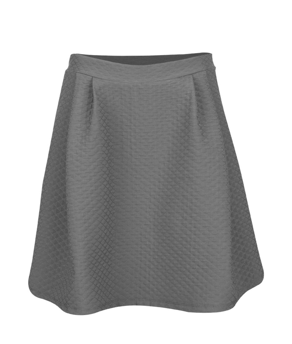 Šedá překládaná sukně s jemným plastickým vzorem VILA Mounta