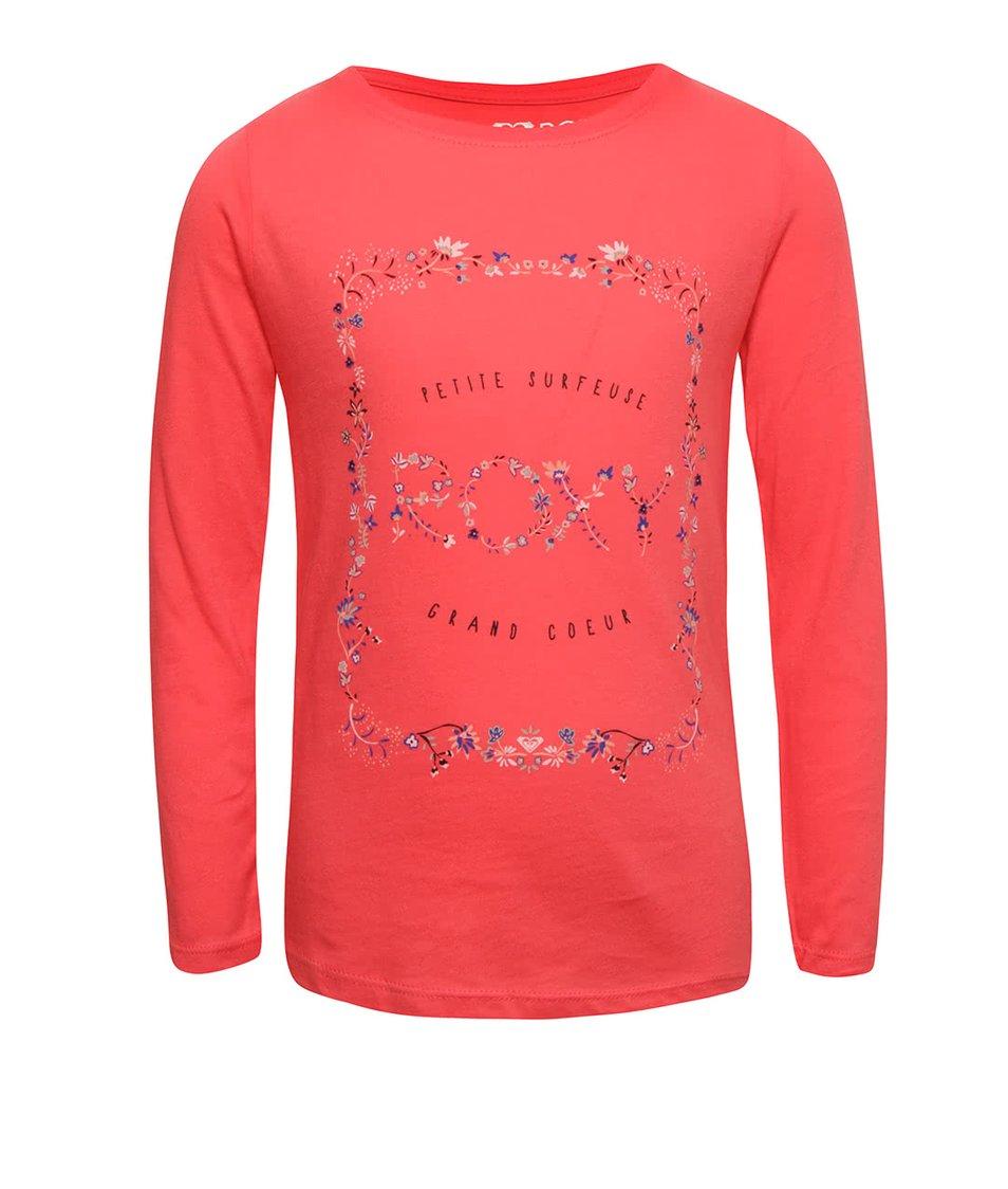Růžové holčičí tričko s barevným potiskem a dlouhým rukávem Roxy