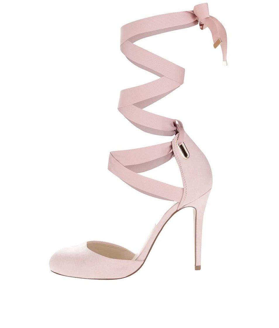 Světle růžové sandálky v semišové úpravě se šněrováním Miss Selfridge