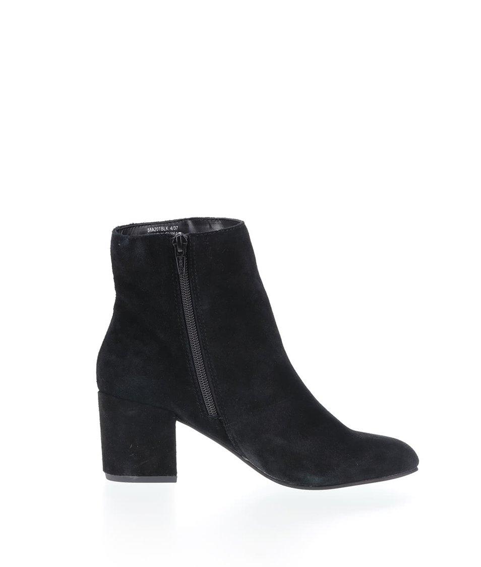 a4d01149c65 Černé kotníkové semišové boty na podpatku Miss Selfridge - SLEVA ...