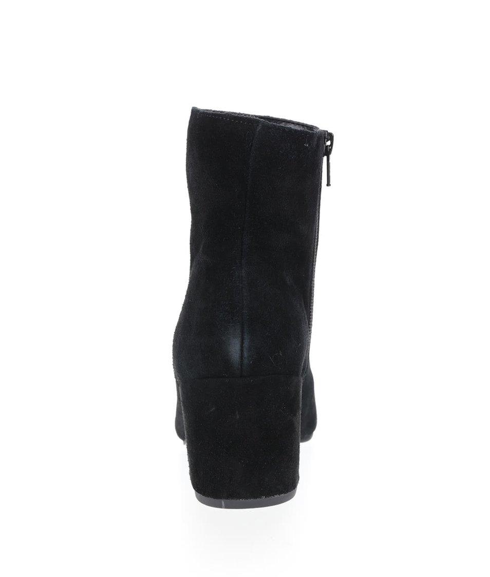 c440e22783e Černé kotníkové semišové boty na podpatku Miss Selfridge - Akční ...