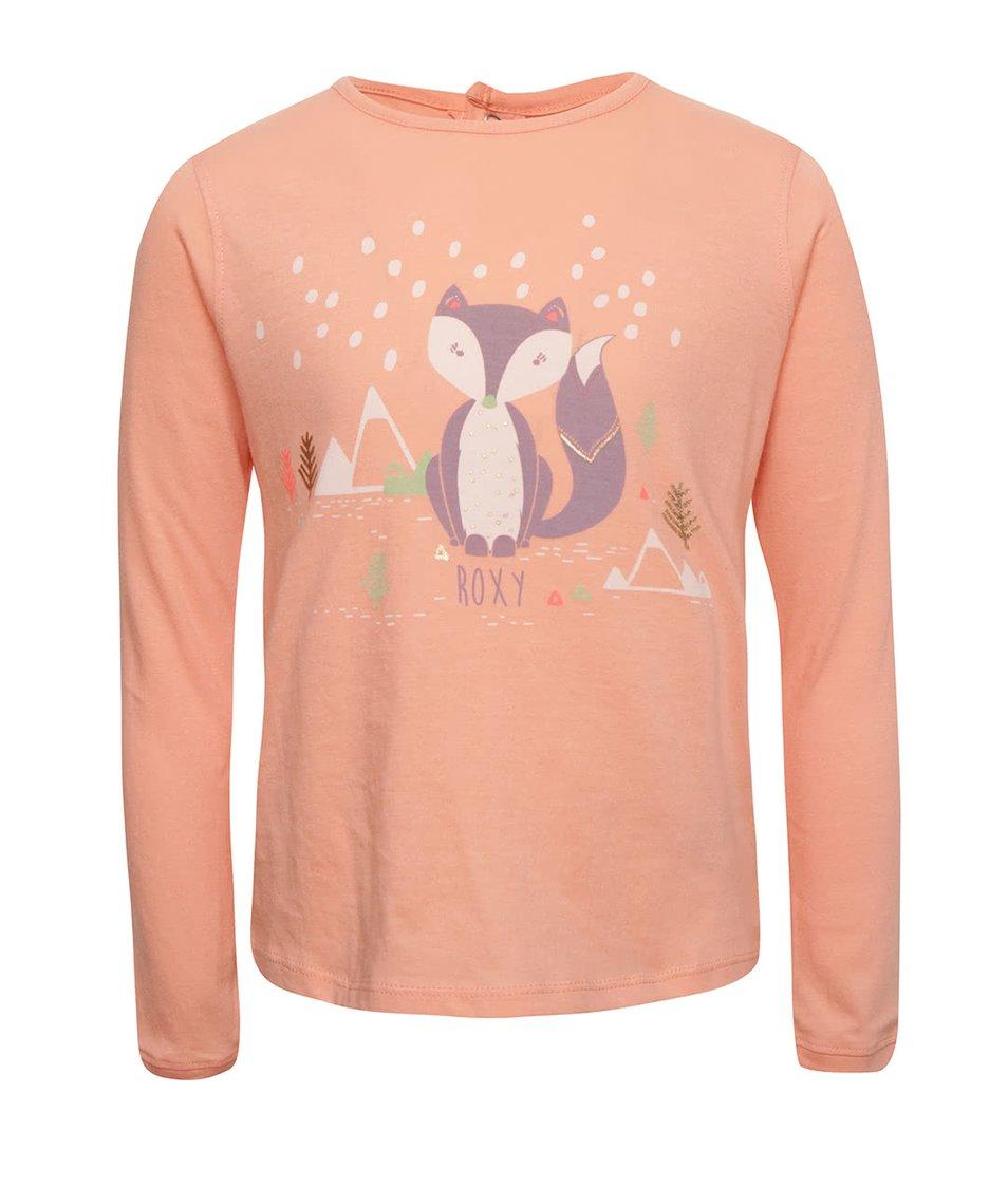Meruňkové holčičí tričko s motivem lišky a dlouhým rukávem Roxy
