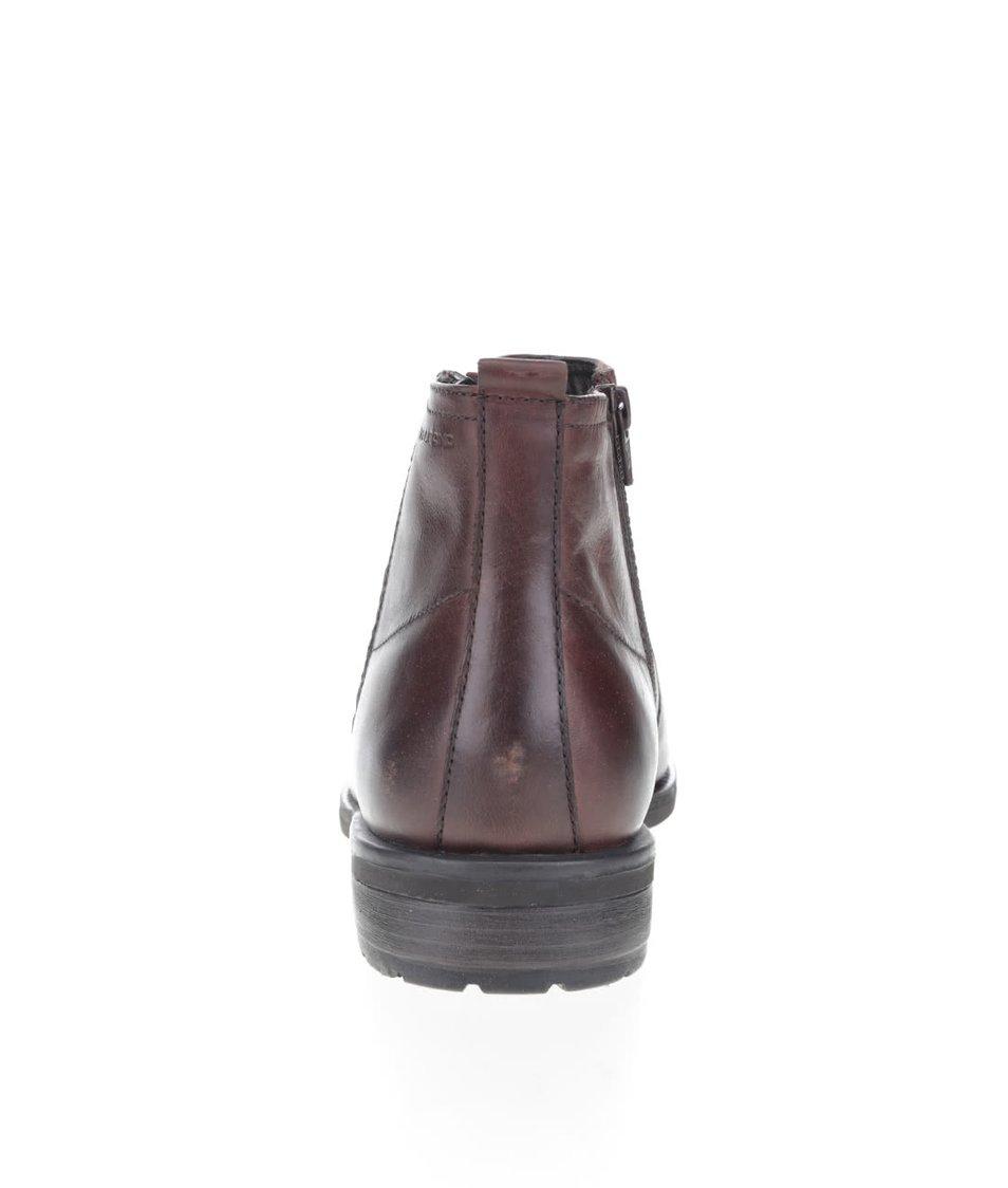 6b3f42ce7b Tmavohnedé pánske kožené členkové topánky so zipsom Vagabond ...