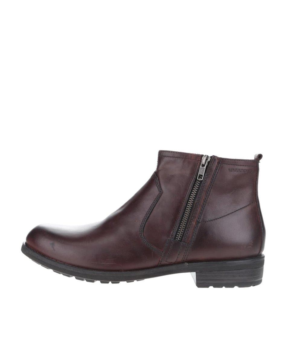 Tmavě hnědé pánské kožené kotníkové boty se zipem Vagabond Lynnwood