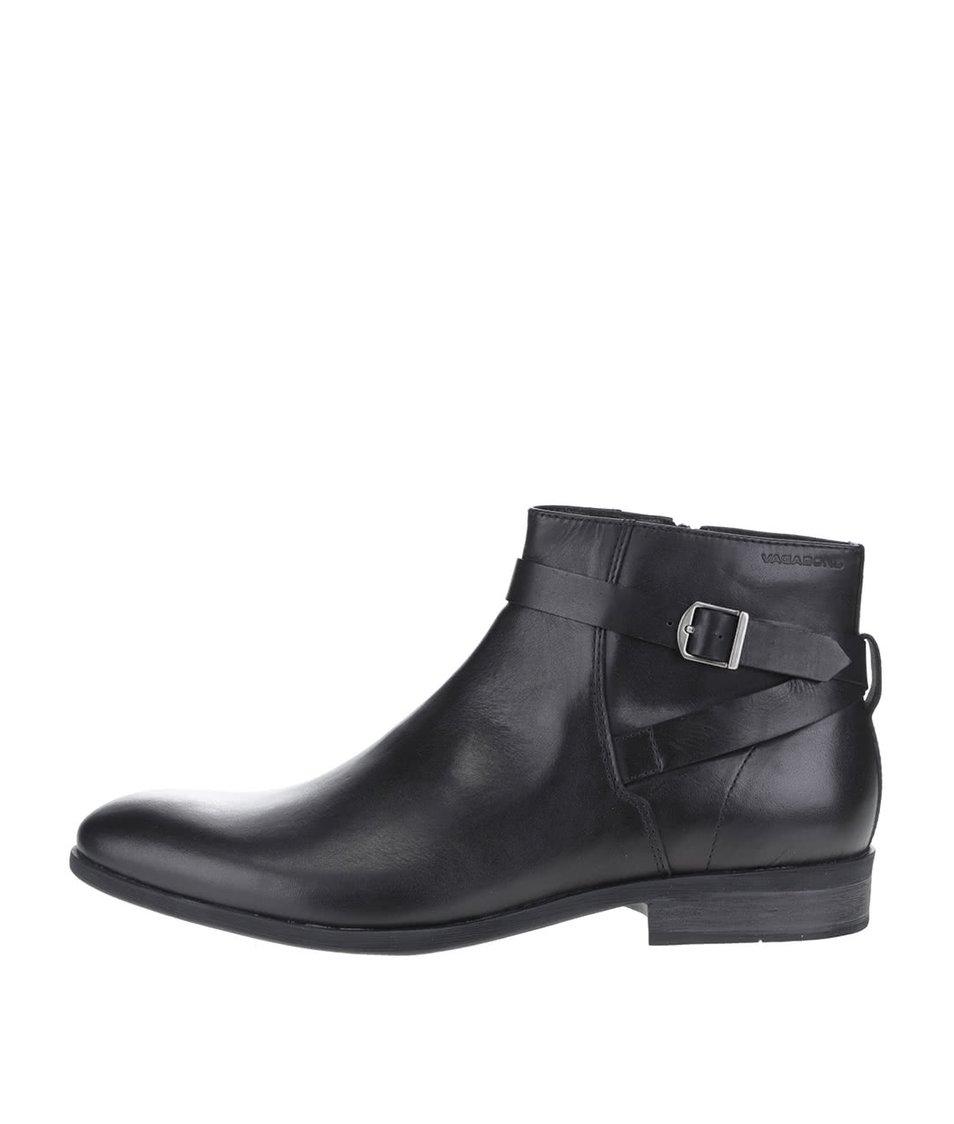 Černé pánské kožené kotníkové boty s přezkou Vagabond Hustle