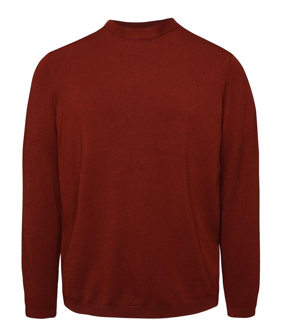 Cihlový lehký svetr Burton Menswear London