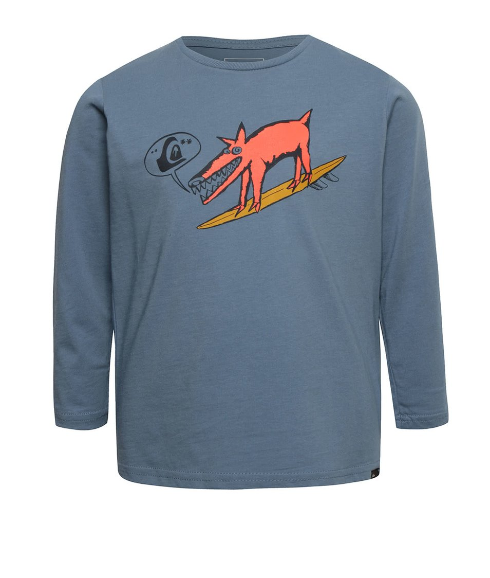 Modré klučičí tričko s dlouhým rukávem a potiskem Quiksilver