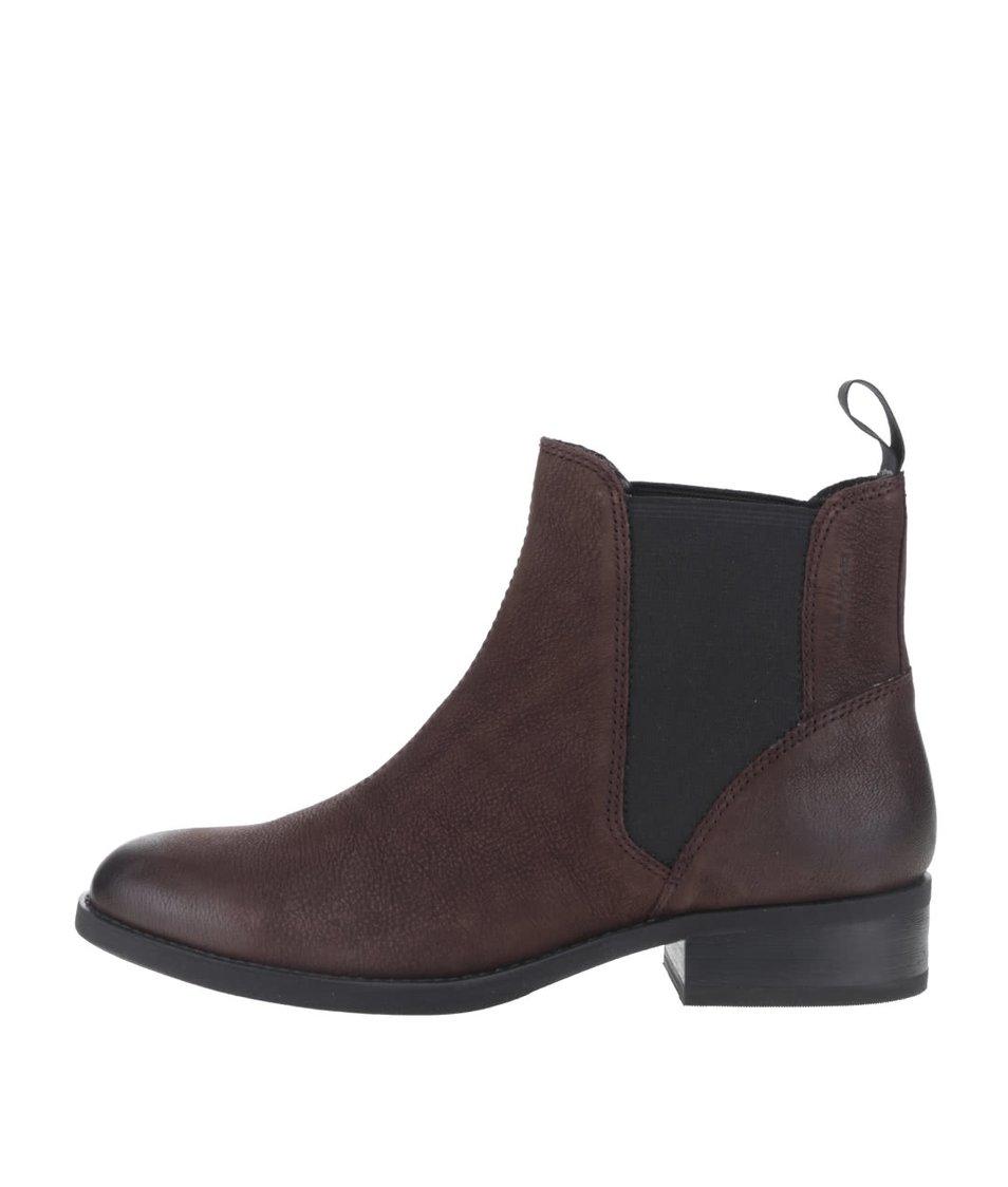 Tmavě hnědé dámské kožené chelsea boty Vagabond Cary