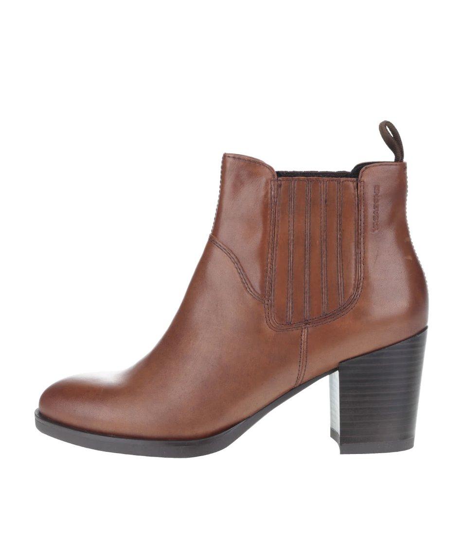 Světle hnědé dámské kožené kotníkové boty na podpatku Vagabond Ellie