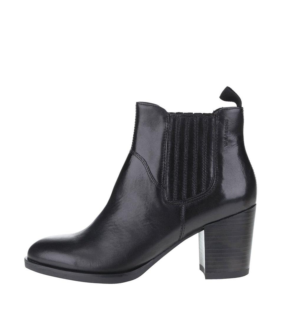 Černé kožené chelsea boty na podpatku Vagabond Ellie