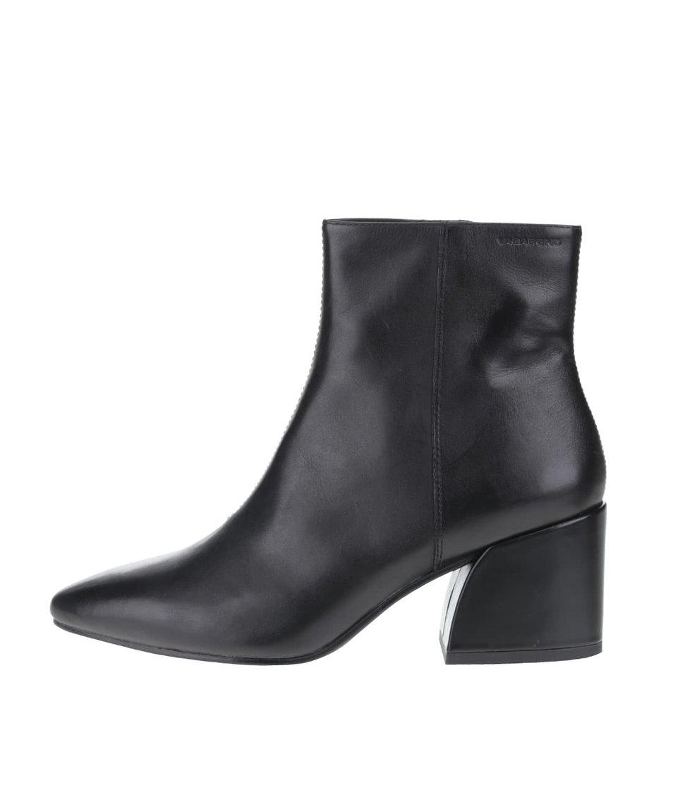 Černé dámské kožené kotníkové boty se špičkou Vagabond Olivia