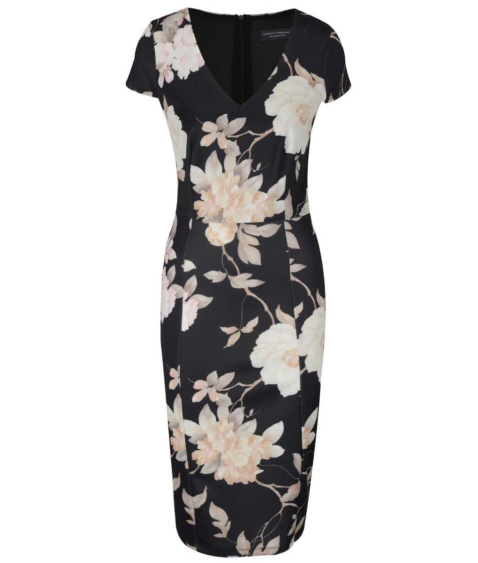 Černé pouzdrové šaty s květovaným vzorem Dorothy Perkins