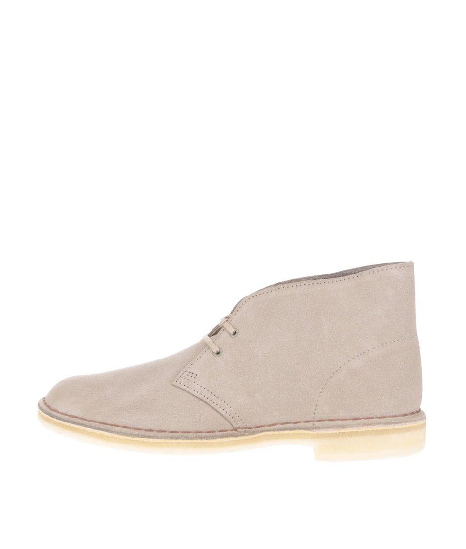 Šedobéžové pánské semišové kotníkové boty Clarks Desert Boot