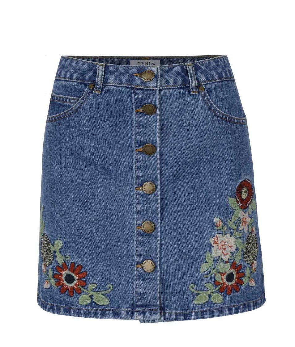Modrá denimová sukně s výšivkou květů Miss Selfridge