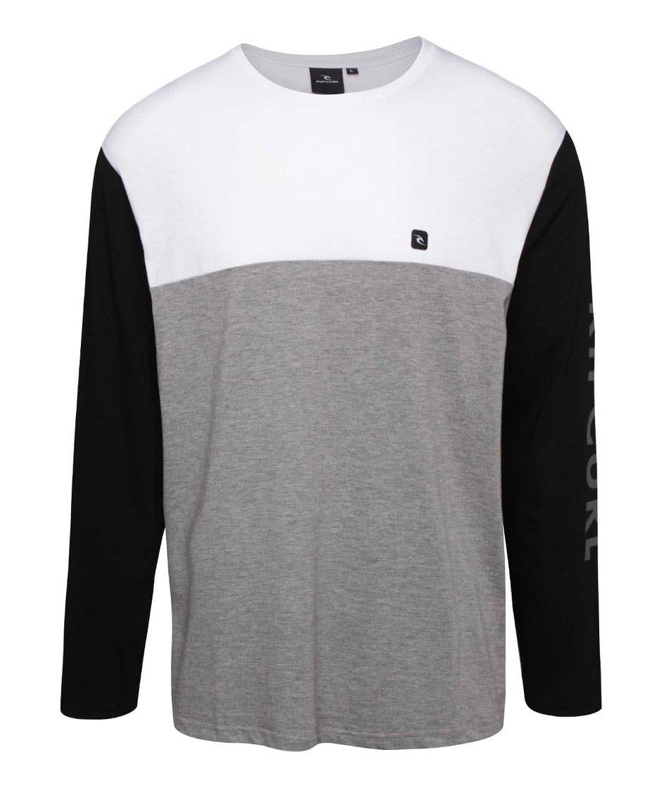 Bílo- šedé pánské triko s černým dlouhým rukávem Rip Curl Blocked LS Tee