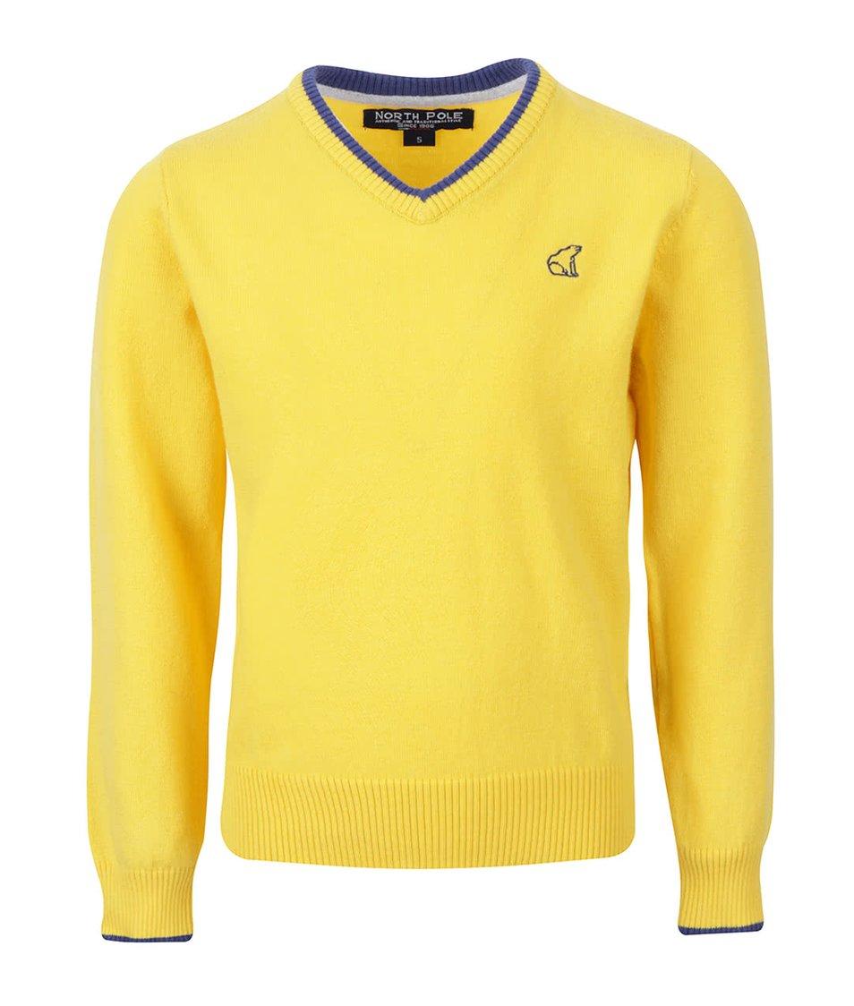 Žlutý klučičí svetr s véčkovým výstřihem North Pole Kids