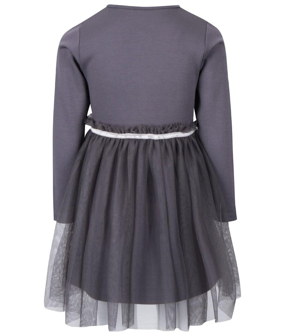 Šedé holčičí šaty s dlouhým rukávem a tylovou sukní North Pole Kids