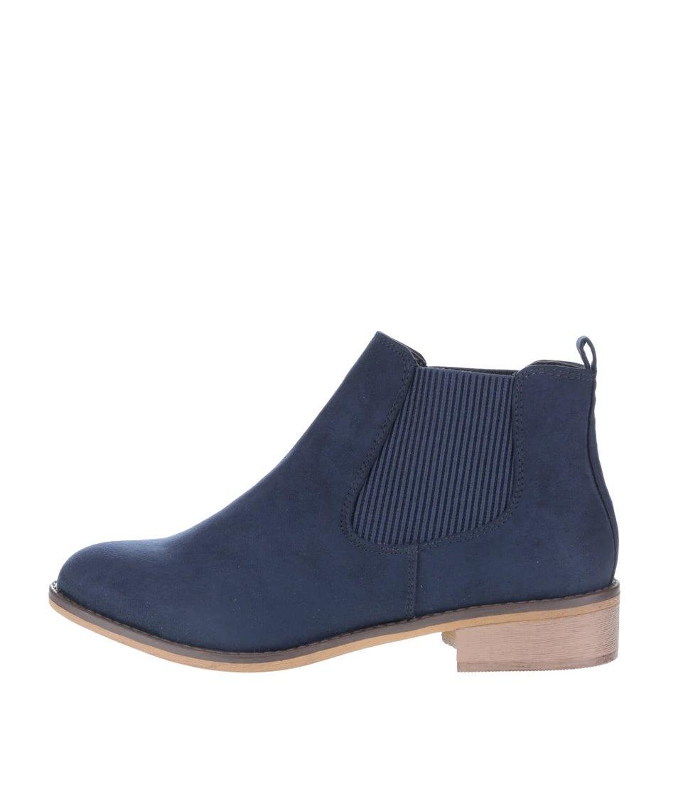 Modré kotníkové chelsea boty v semišové úpravě Dorothy Perkins
