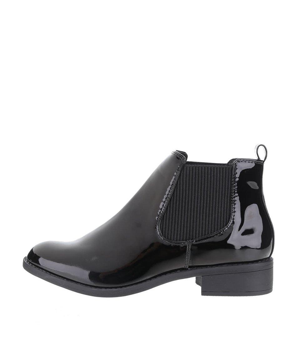 Černé lesklé kotníkové chelsea boty Dorothy Perkins