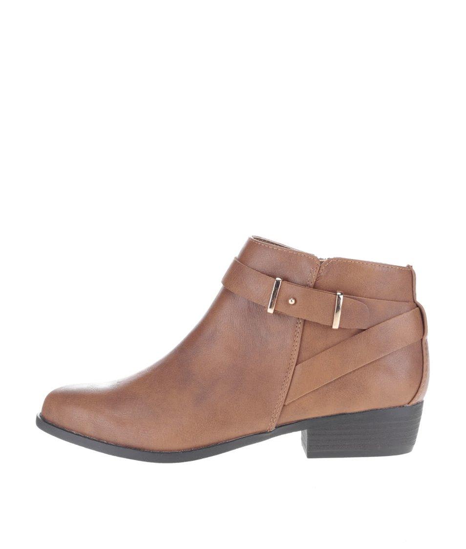Hnědé kotníkové boty s přeskou Dorothy Perkins