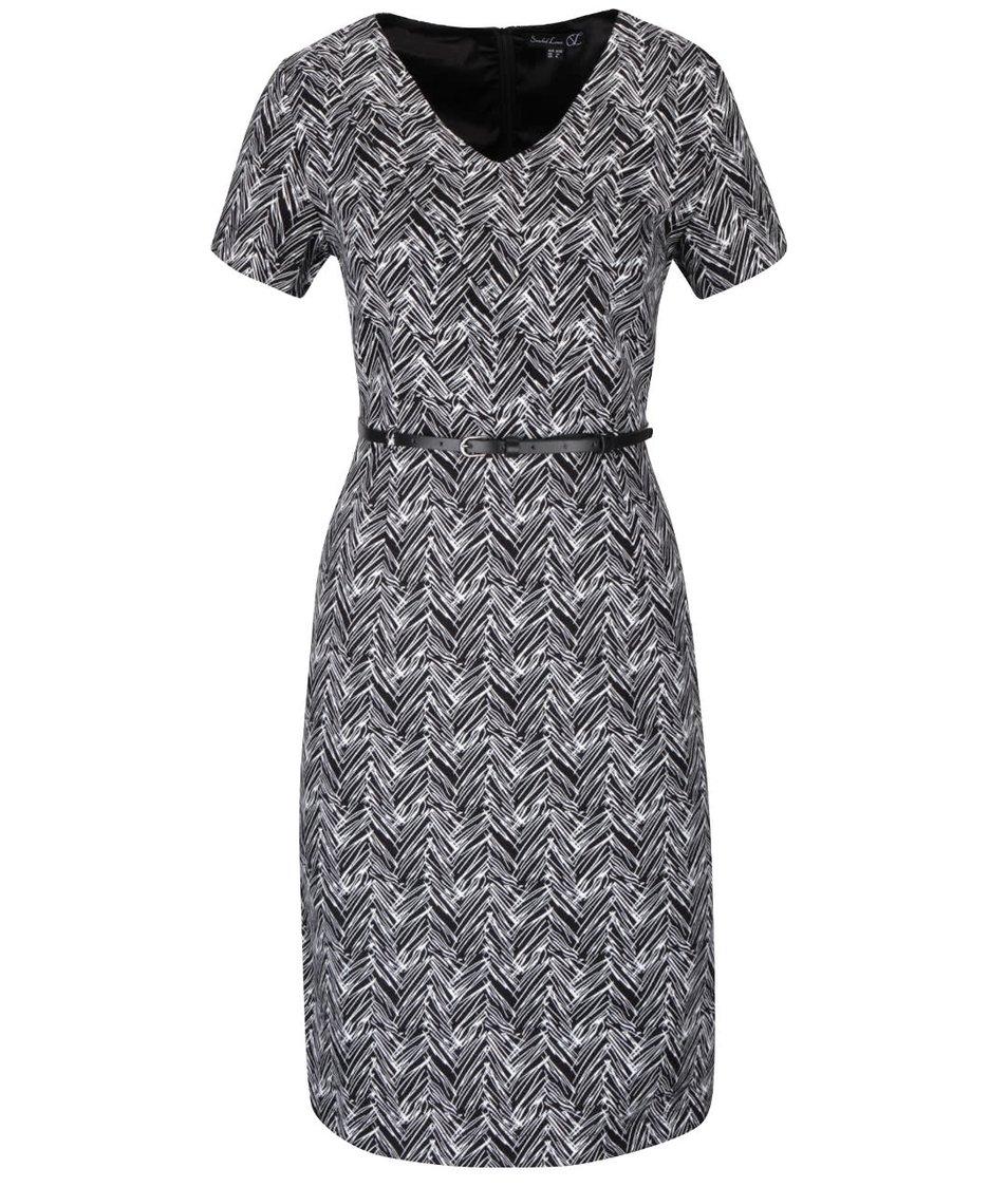 Černé vzorované šaty s páskem a krátkými rukávy Smashed Lemon