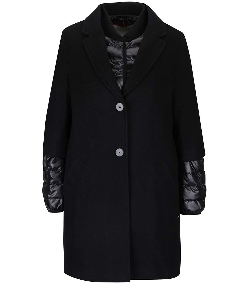 Černý dámský kabát s bundou 2v1 s.Oliver