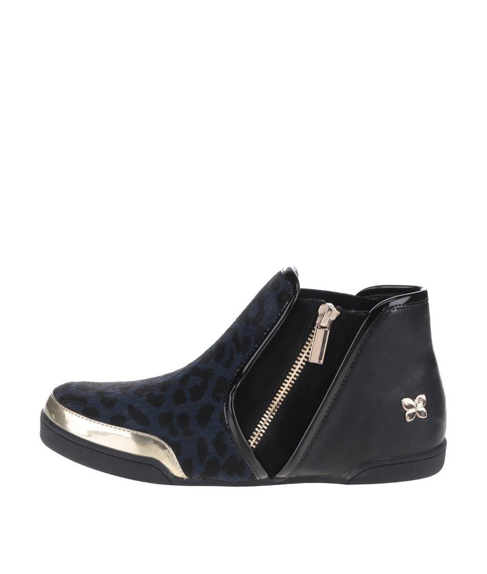 Černo-modré kotníkové boty s leopardím vzorem Butterfly Twists Alexis