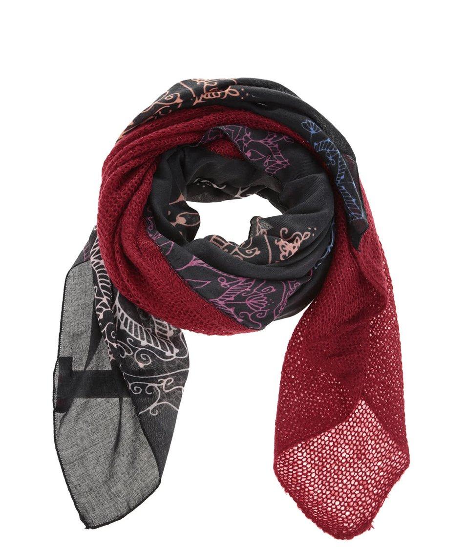 Červeno-černý vzorovaný šál Desigual Mixto Bicolor