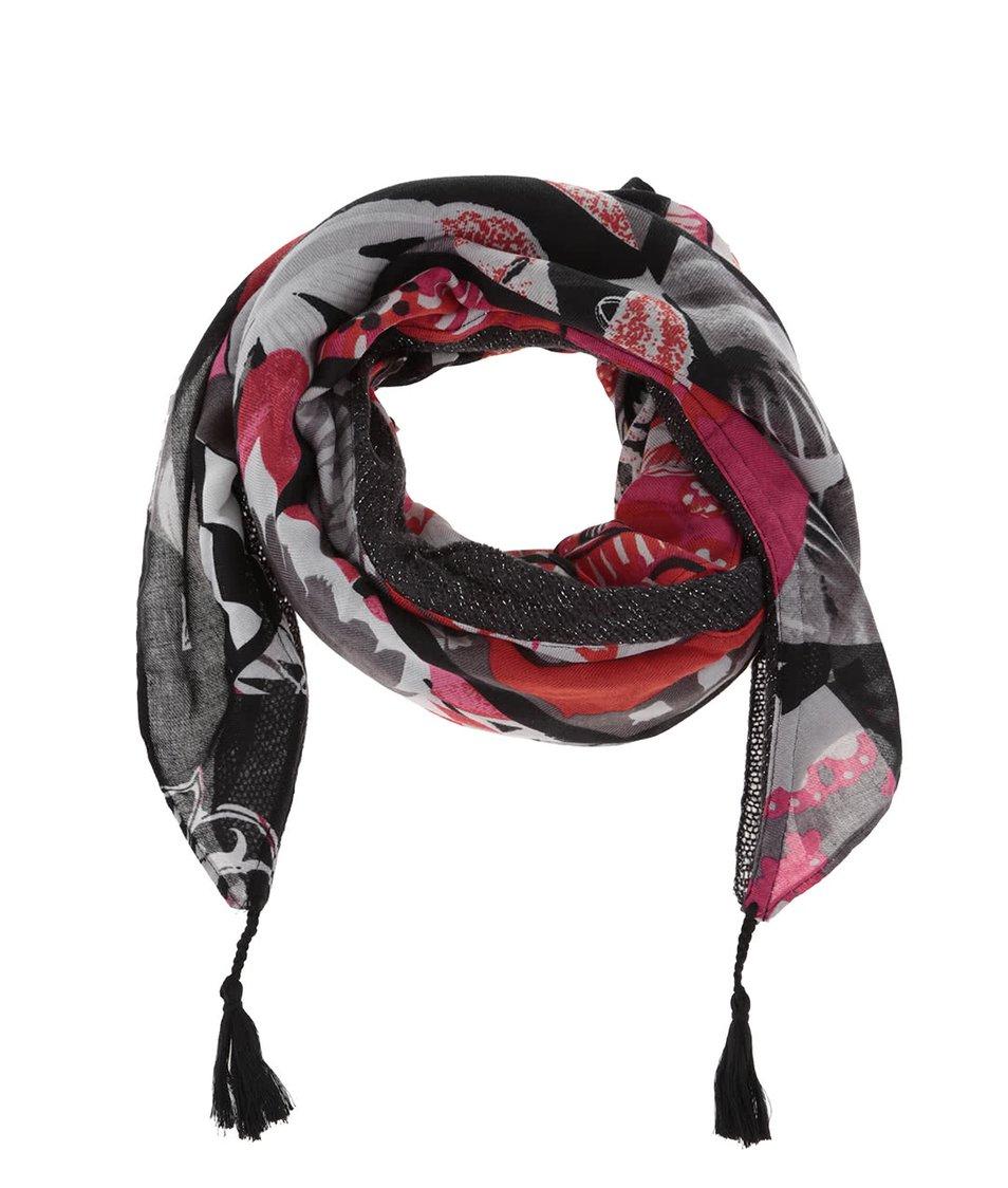 Šedo-černý vzorovaný šátek Desigual Indiana