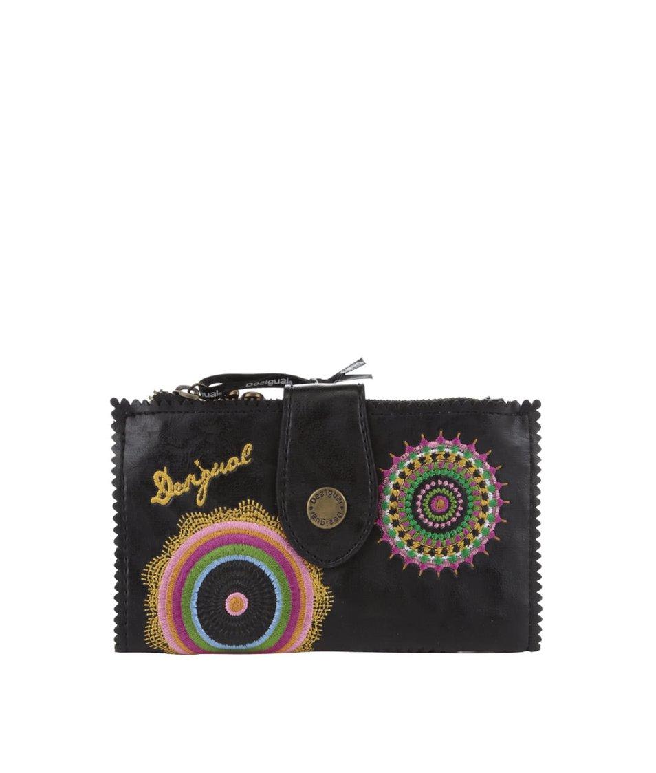 Černá koženková peněženka s vyšitými květy Desigual Basic Audrey