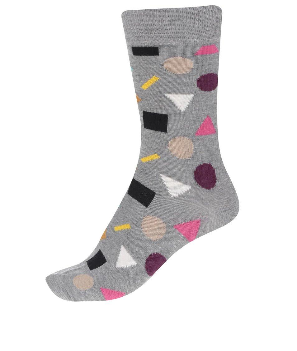 Šedé dámské ponožky se vzorem Happy Socks Play