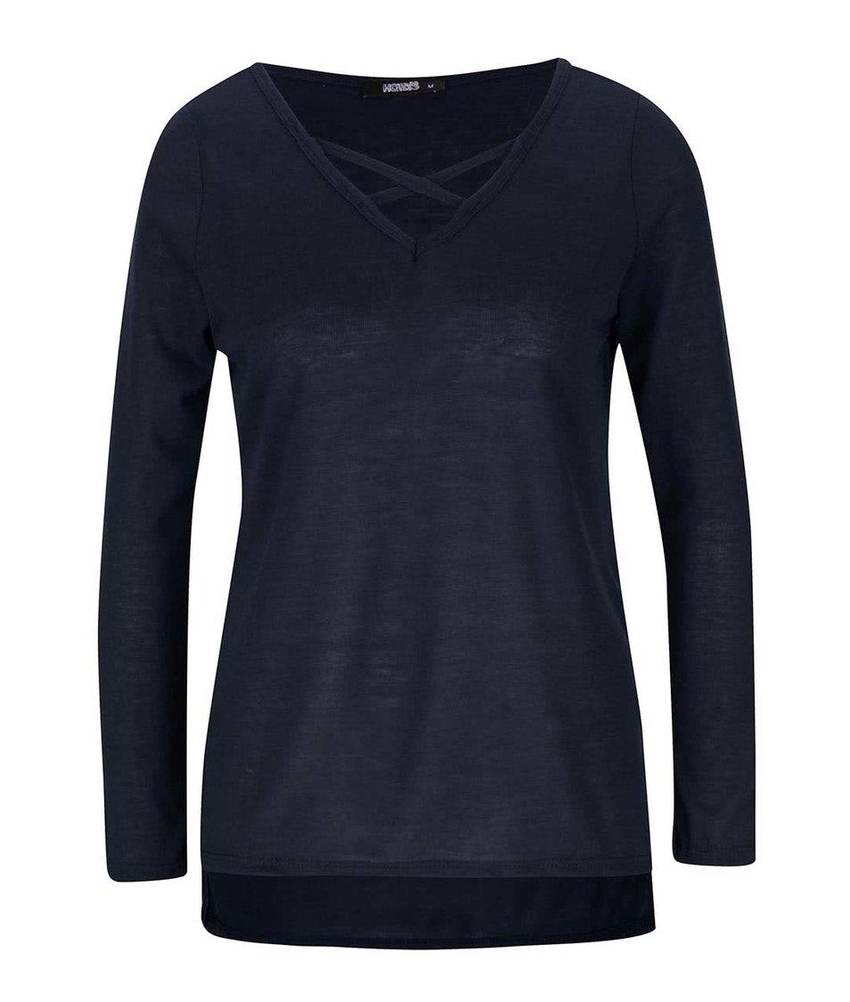 Tmavě modré dámské tričko s pásky přes dekolt Haily´s Kira