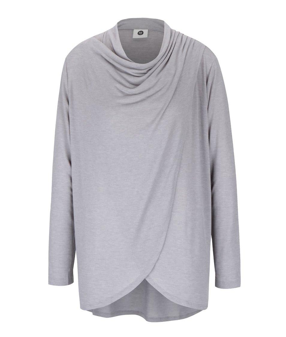 Šedé dámské žíhané tričko s dlouhým rukávem PEP Famous