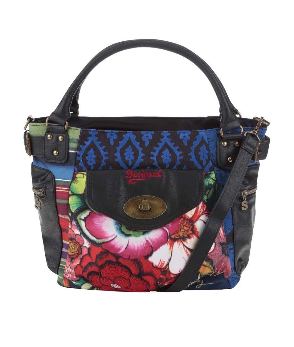 Modro-černá kabelka s červenou květinovou kapsou Desigual McBee New Zealand