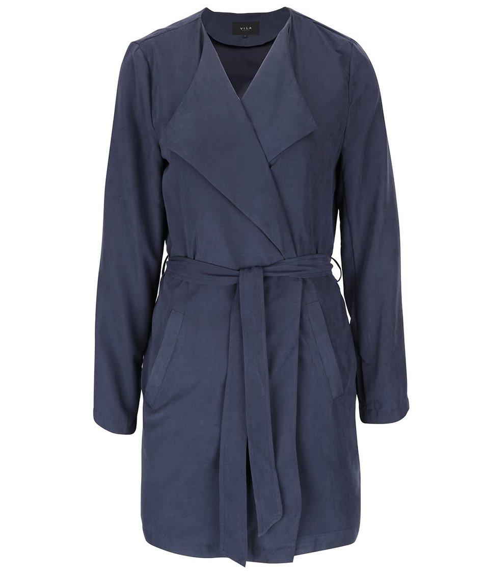 Tmavě modrý lehký kabát s páskem VILA Can