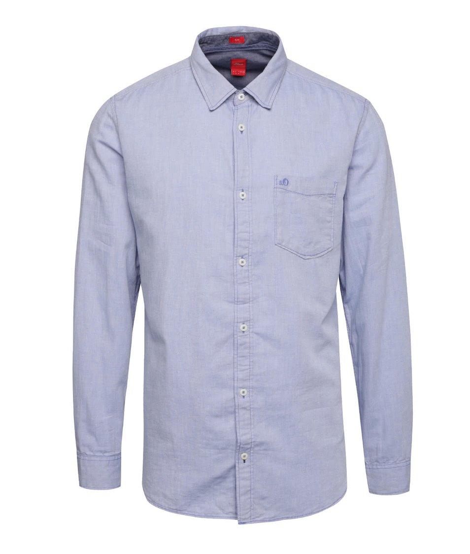 Modrá pánská slim-fit košile se vzorem s.Oliver