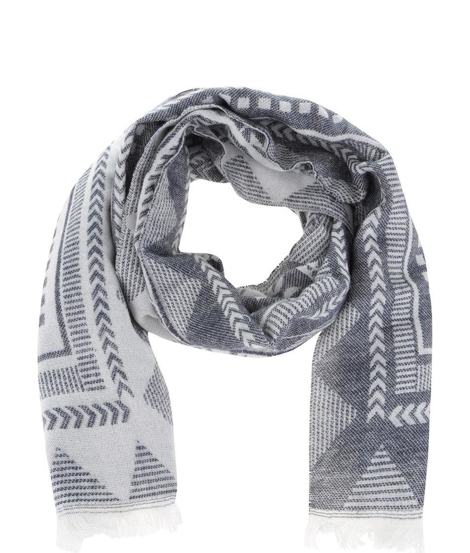 Krémovo-modrá vzorovaná šála Haily´s Antonella