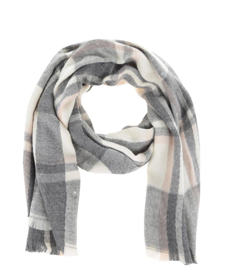 Krémovo-šedá károvaná šála Haily´s Dafne