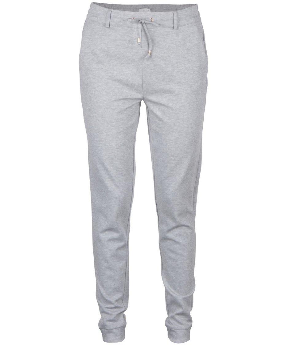 Světle šedé volnější kalhoty VILA Riasta