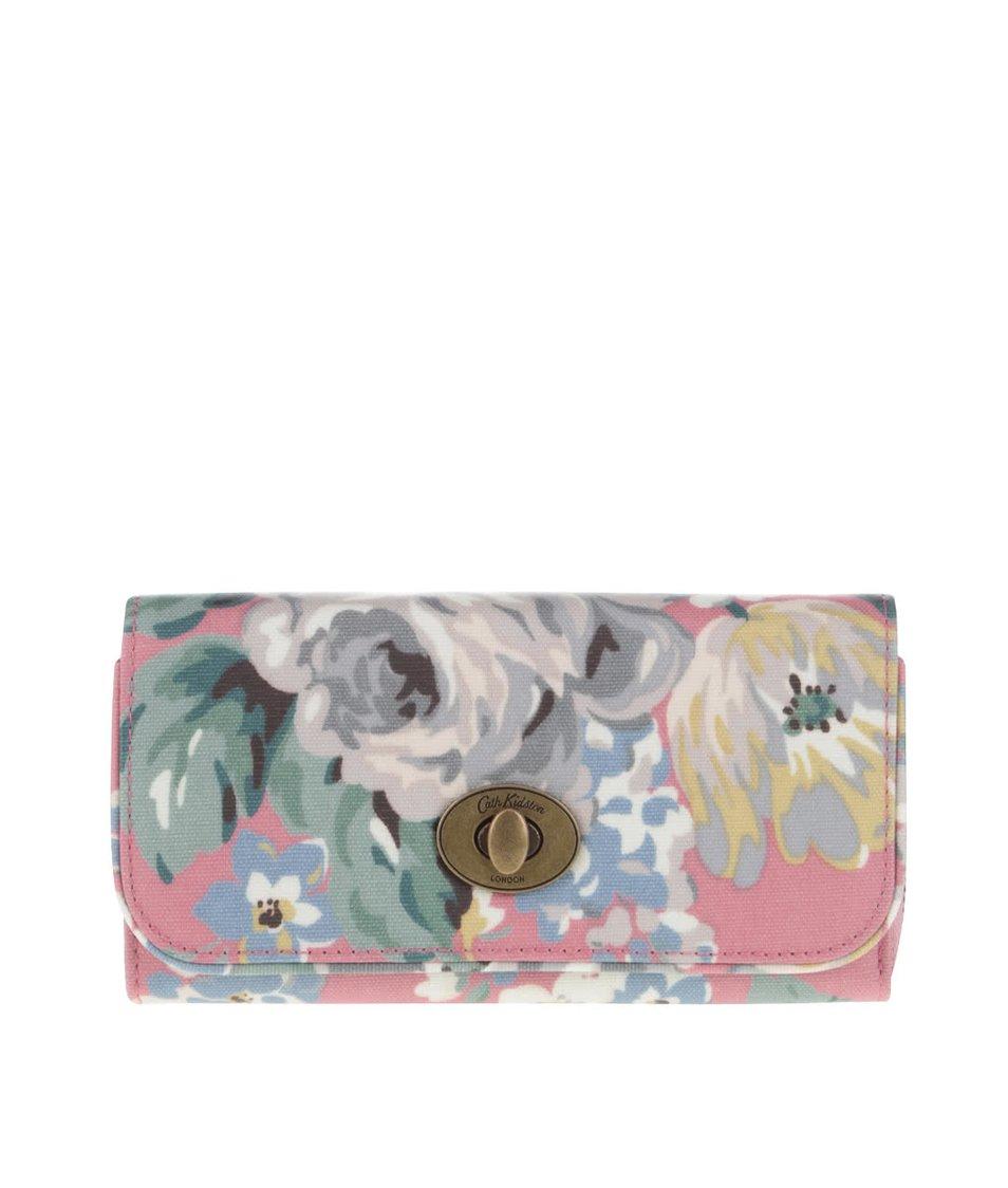 Růžová květovaná peněženka se sponou Cath Kidston